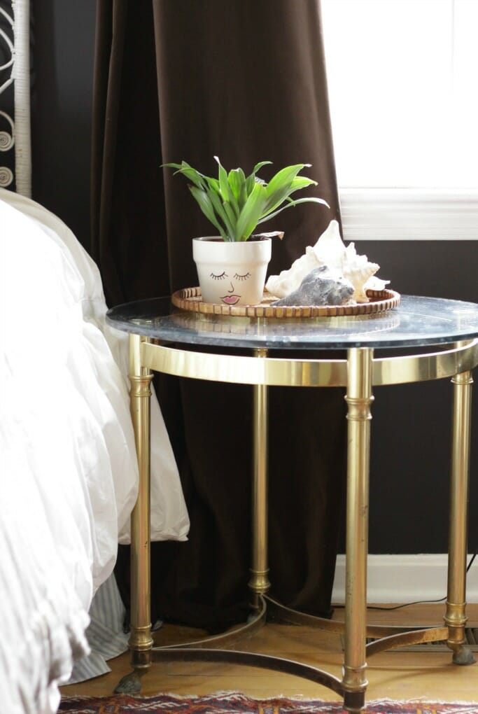 Brass & Glass table; hand painted planter