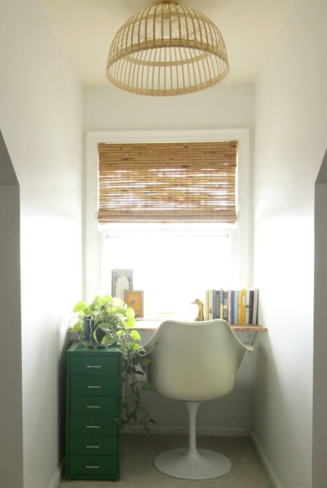 Dormer Nook with DIY Floating Desk & Ikea Hack Light