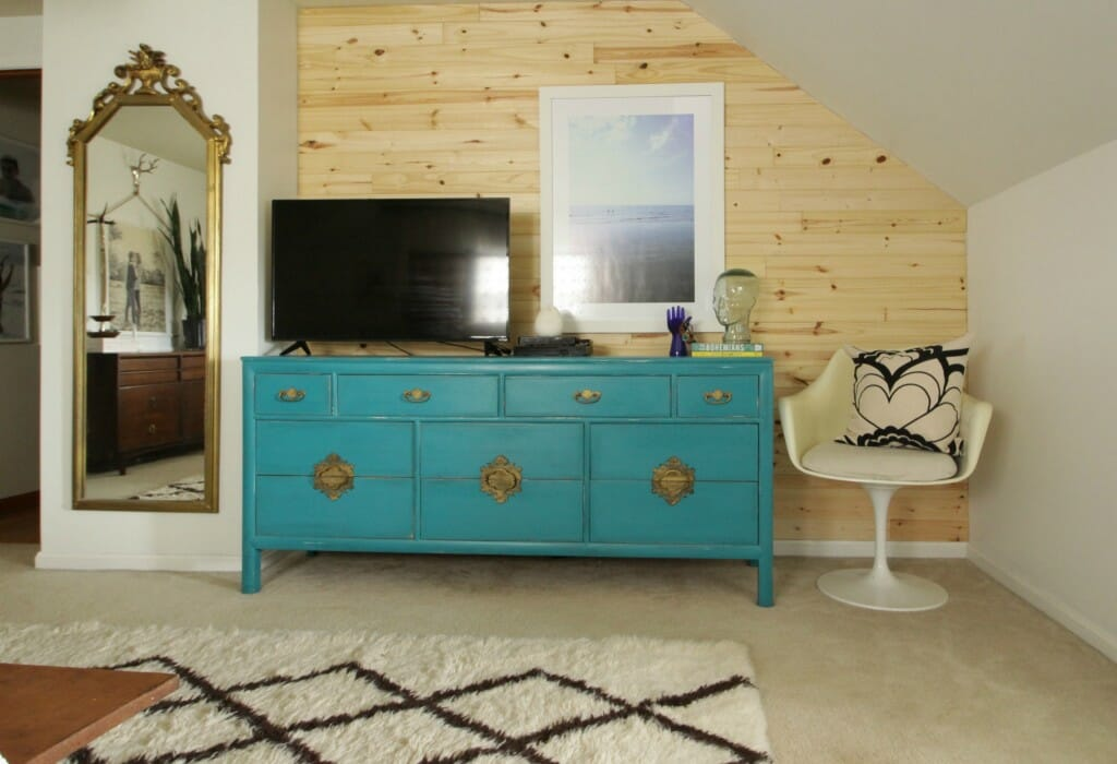 Turquoise Dresser & Planked Wall
