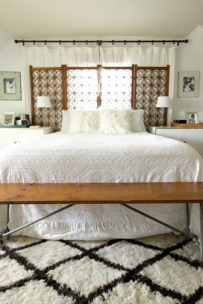 White Wood Modern Boho Bedroom