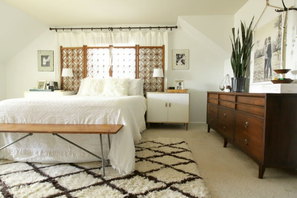 Modern Boho Bedroom in White and Wood