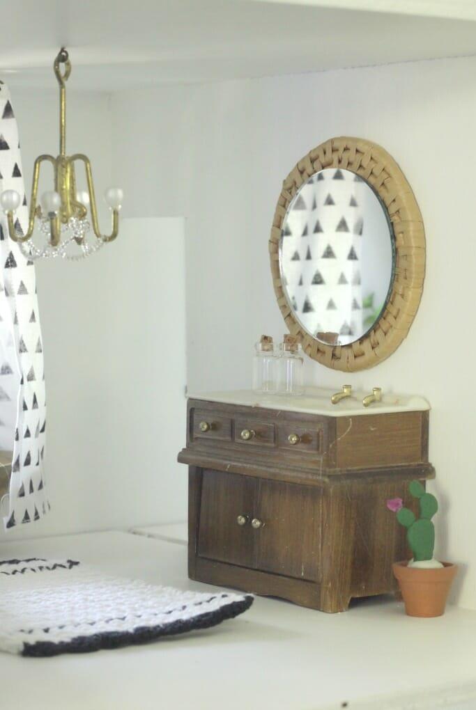 Dollhouse Bathroom Vanity with DIY Mirror