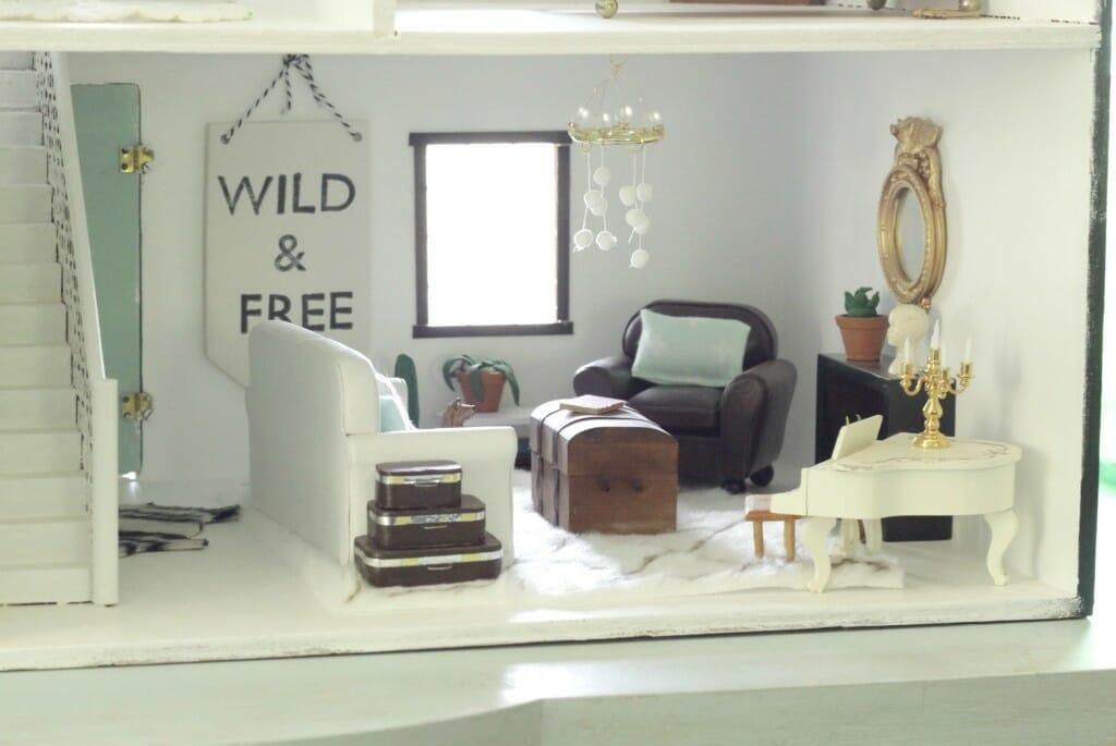 Dollhouse living room in white, mint, black, wood