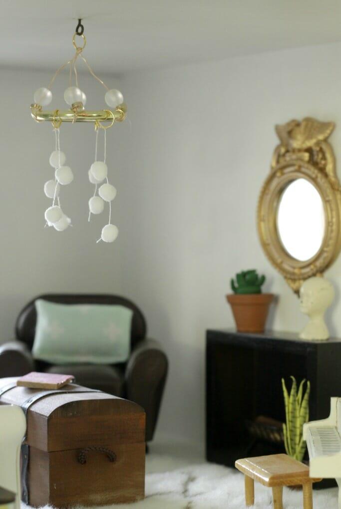 DIY modern whimsical light fixture