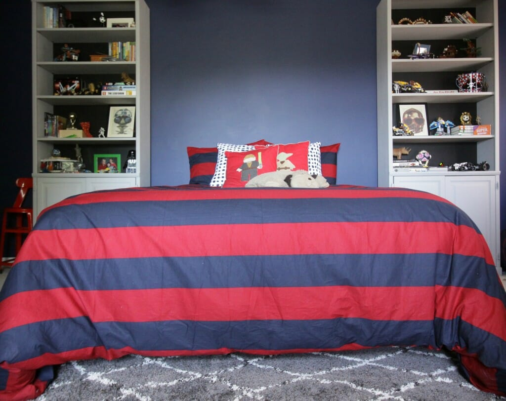 Tween Bedroom in Navy, Red, Gray