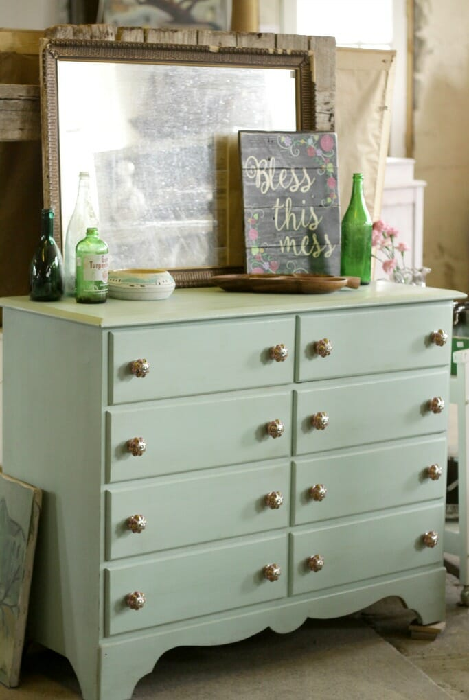 Sweet Mint Dresser with colorful knobs