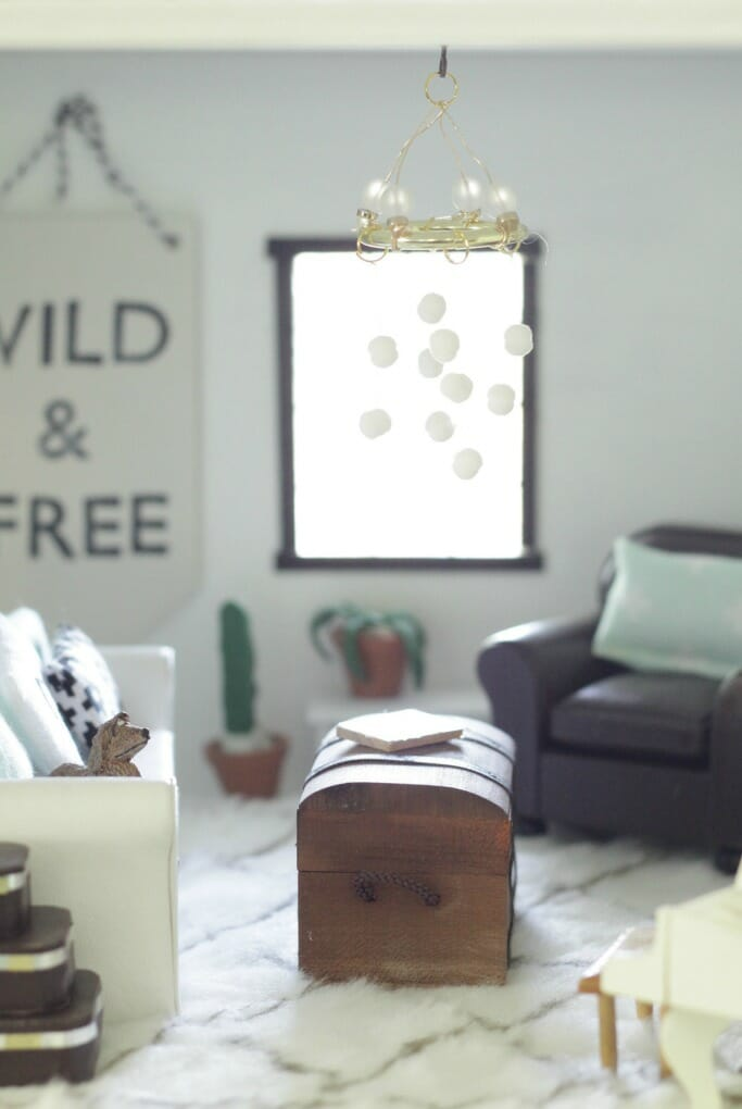 Modern Boho dollhouse living room