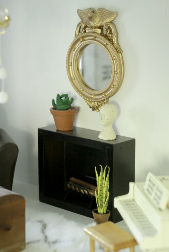Dollhouse Fireplace and Mantle from box, Federal Mirror