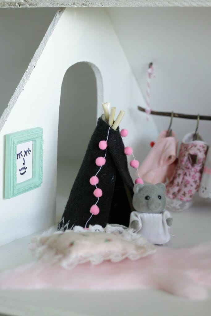 DIY dollhouse tee pee, clothing rack, and art
