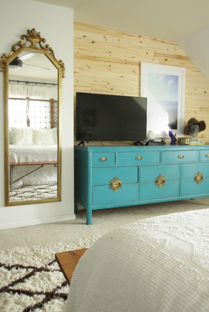 Modern Bohemian Bedroom with Lamps Plus fan/light fixture