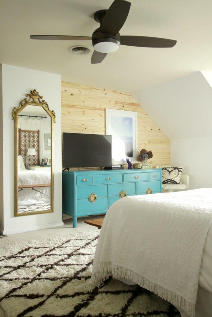 Modern Bohemian Bedroom with Lamps Plus Light/Fan combo