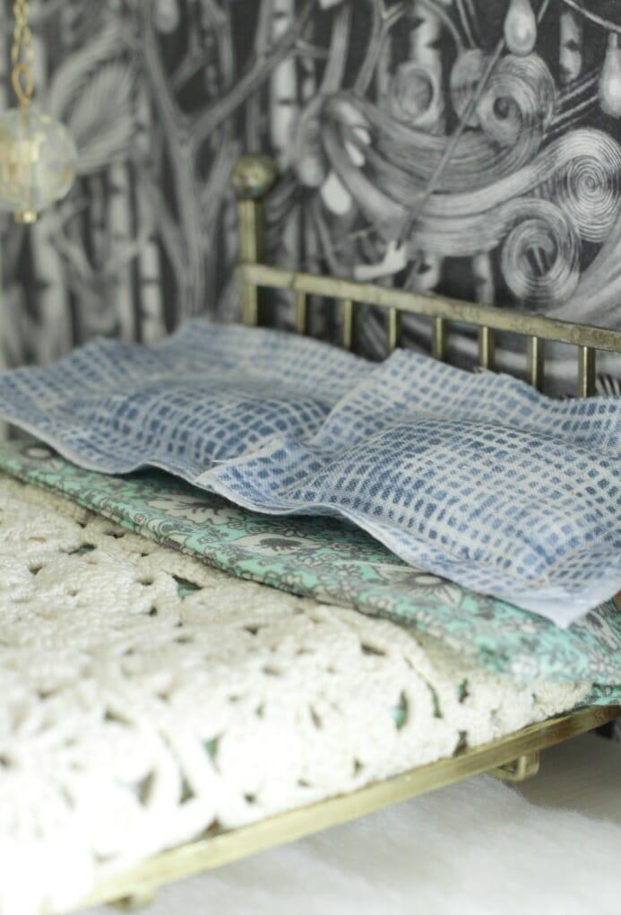 Dollhouse Shibori Style bedding and doily as coverlet