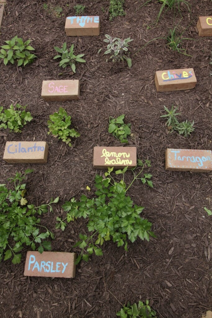 Upcycled Brick Plant Markers