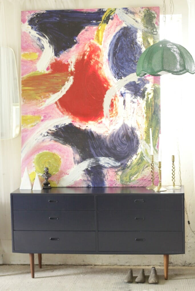 Navy Midcentury Dresser with huge fantastic abstract painting