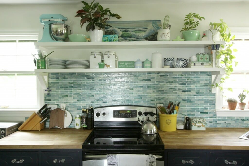 Eclectic Kitchen in blues- open shelving
