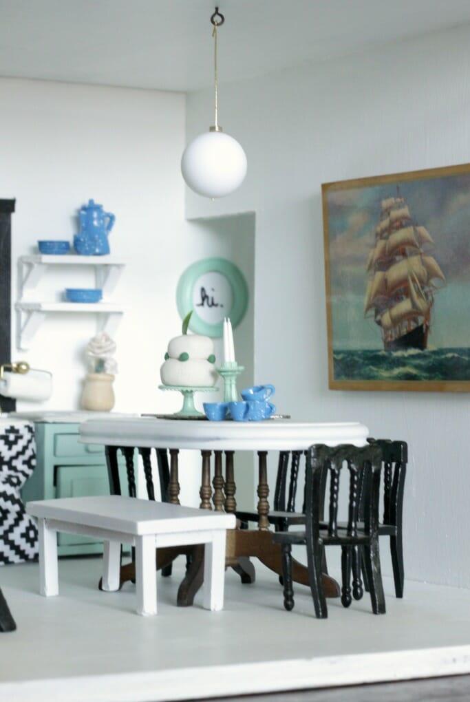 Dollhouse Kitchen with nautical art