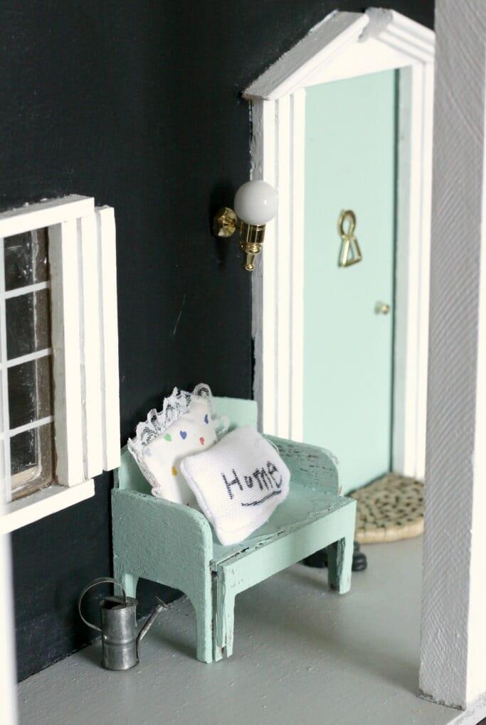 Dollhouse porch bench