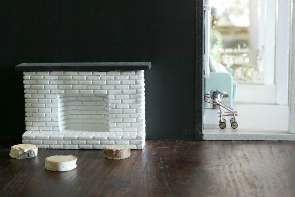 Dollhouse outside fireplace