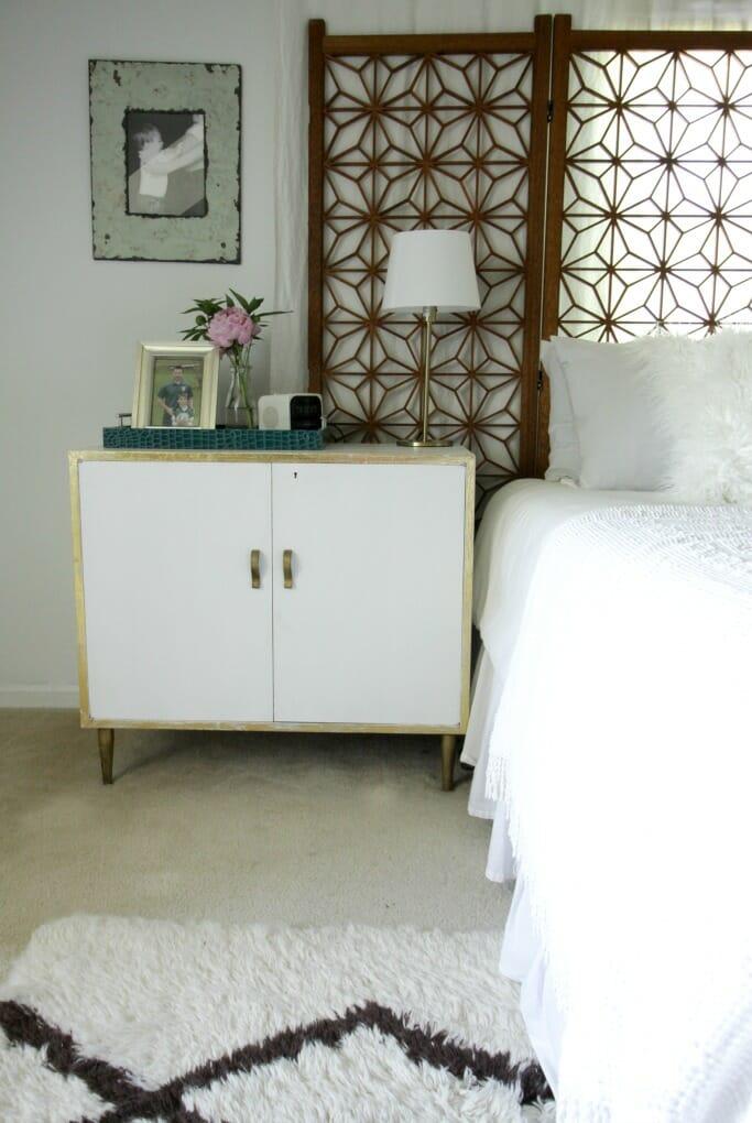 Peonies on Nightstand in Master Bedroom