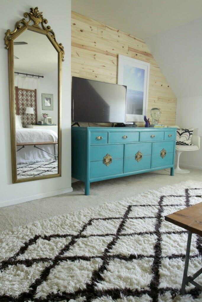 Modern Boho Bedroom with Turquoise Dresser