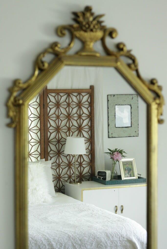 Modern Boho Master Bedroom in White, Wood, Gold