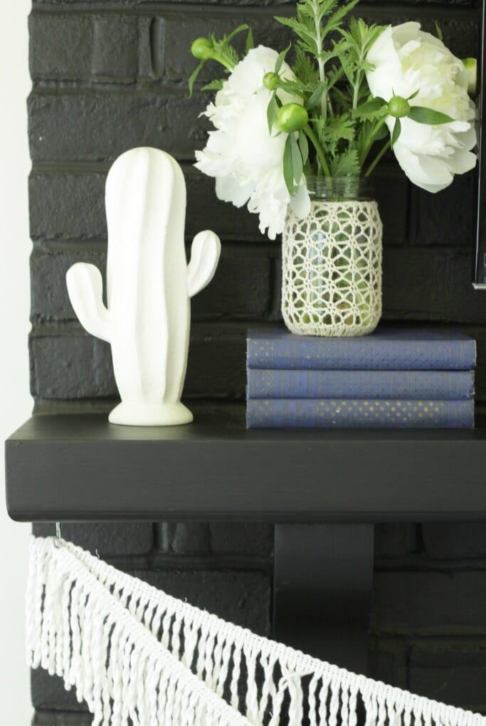 Cactus, Fringe, crocheted Vase, Vintage Books on Black Fireplace Mantle