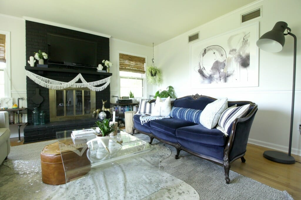 Vintage Navy Sofa in Eclectic Boho Living Room