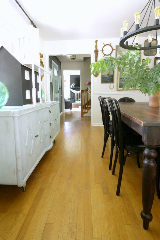 Sideboard with green glass floats