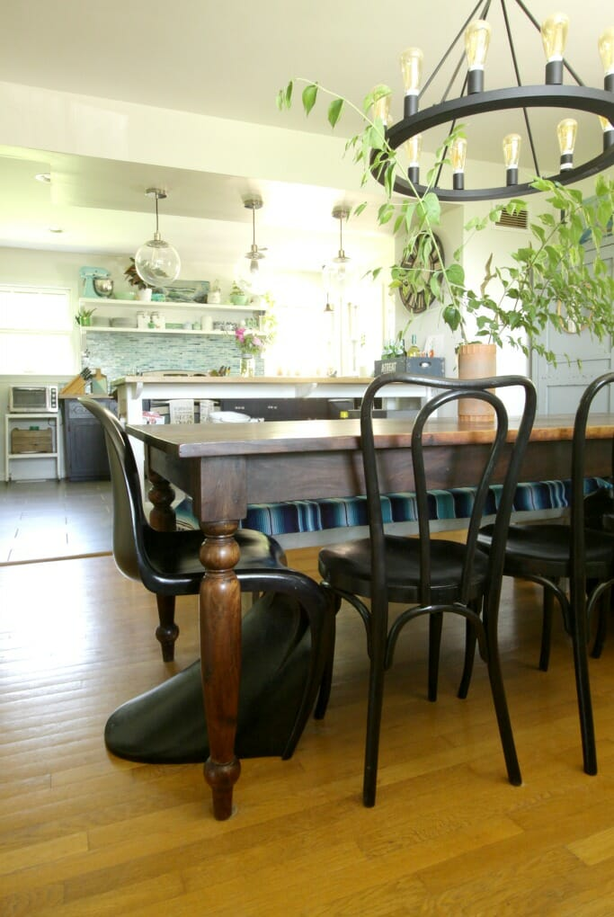 Eclectic Dining Room Open to Kitchen in blues and greens, black and white