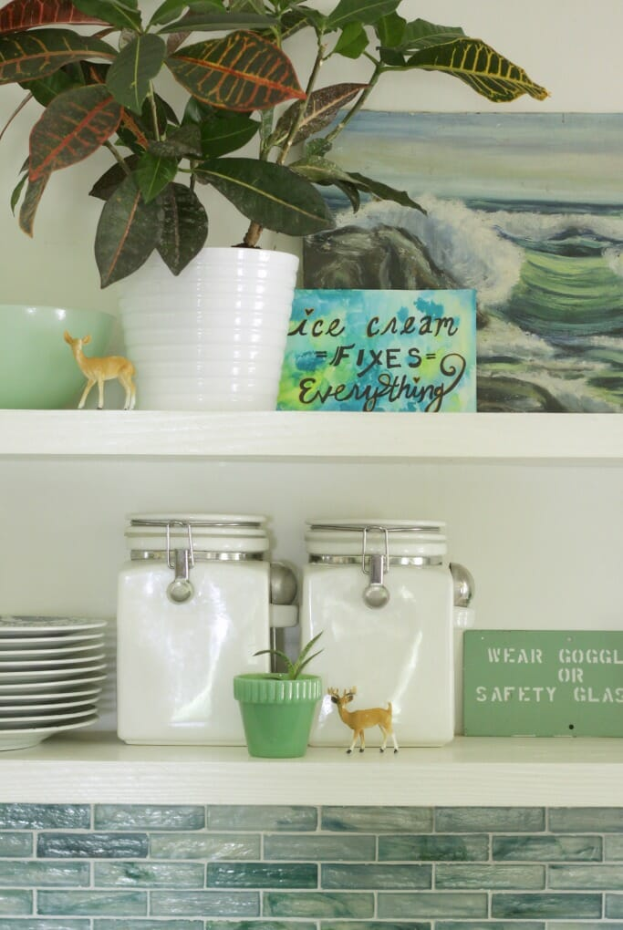 Kitchen shelves styled in blues and greens for Summer