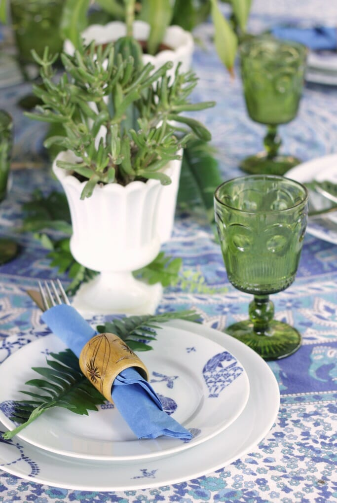 Blue and White dishes, green glass goblets, thrifty boho tablescape