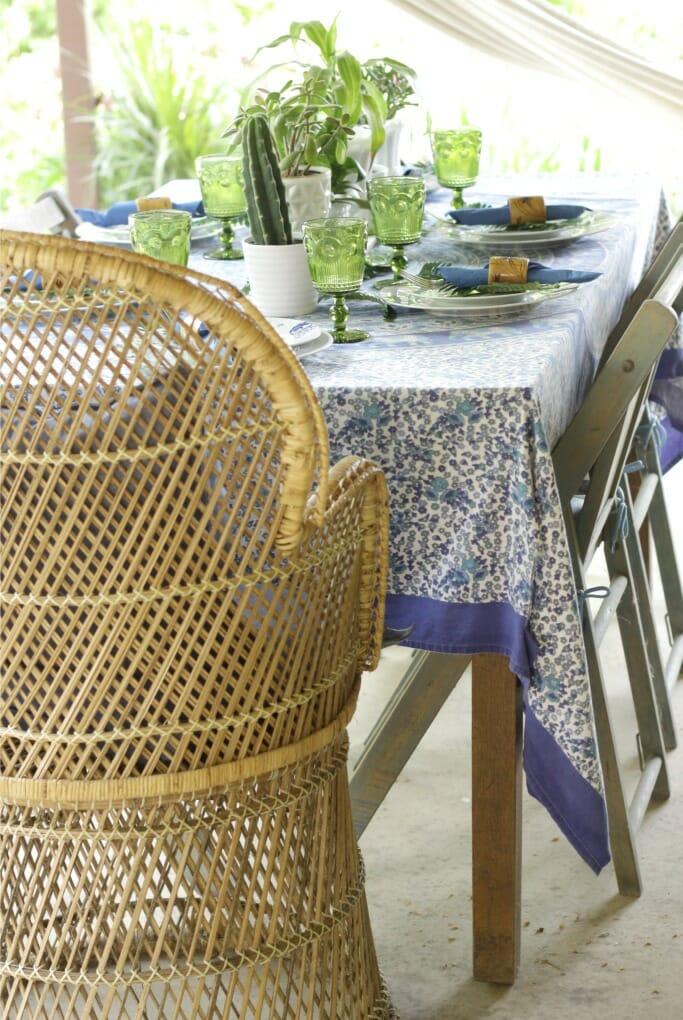 Thrifty Boho Blue and Green Porch Tablescape
