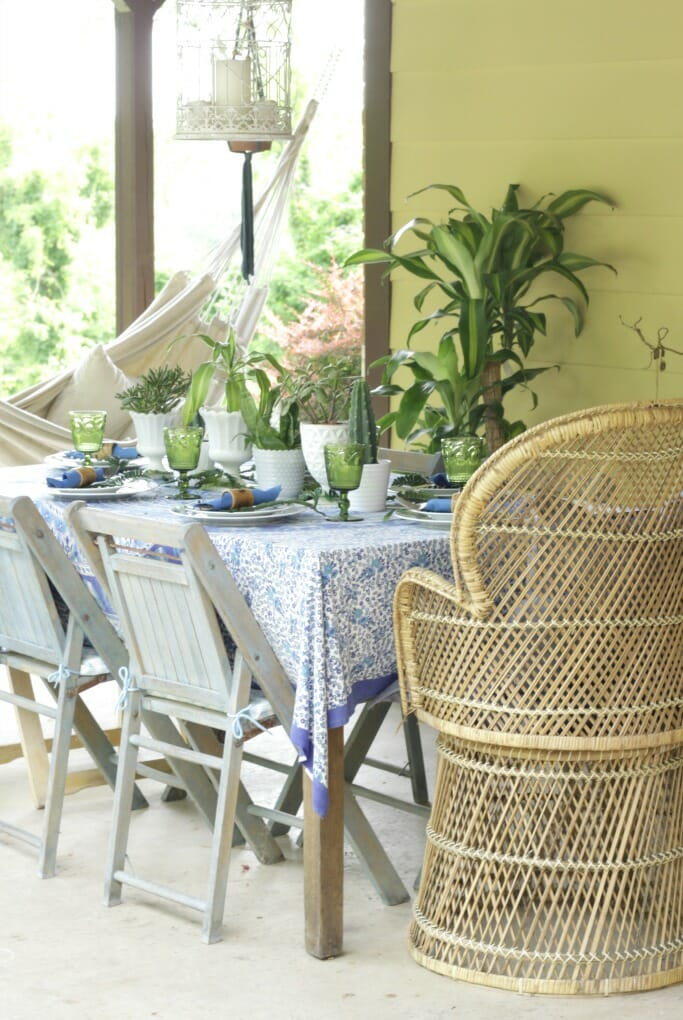 Boho Porch with Blues & Greens on Tablescape