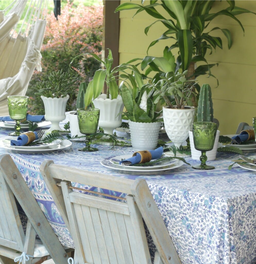 Thrifty Blue & Green Boho Tablescale