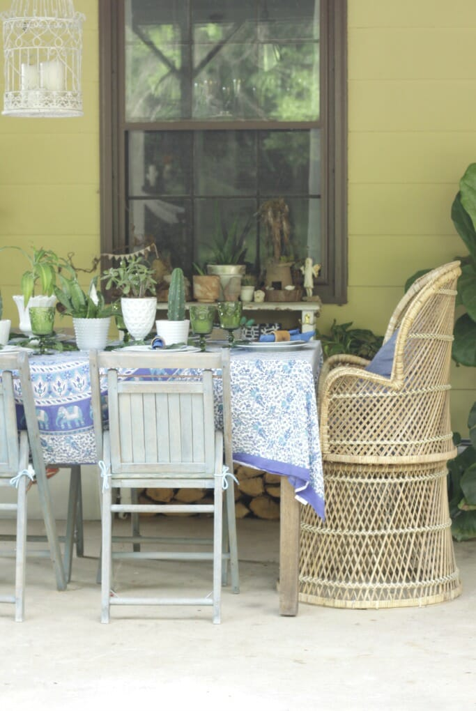 Thrifty Boho Blue & Green Tablescape
