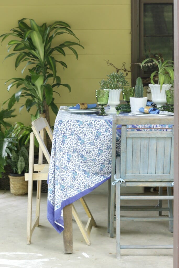 Thrifty Boho Tablescape in blue and green