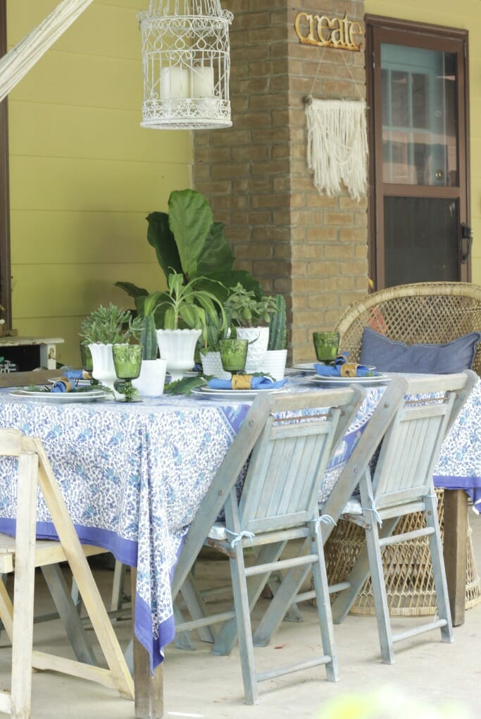 Thrifty Boho Tablescape in blues and greens