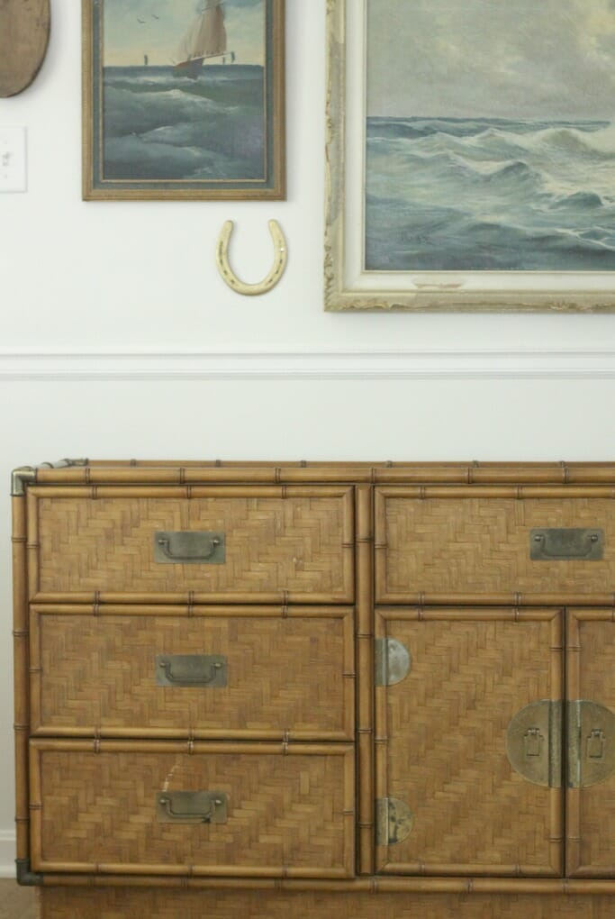 Bamboo Dresser with Nautical Seascape Wall