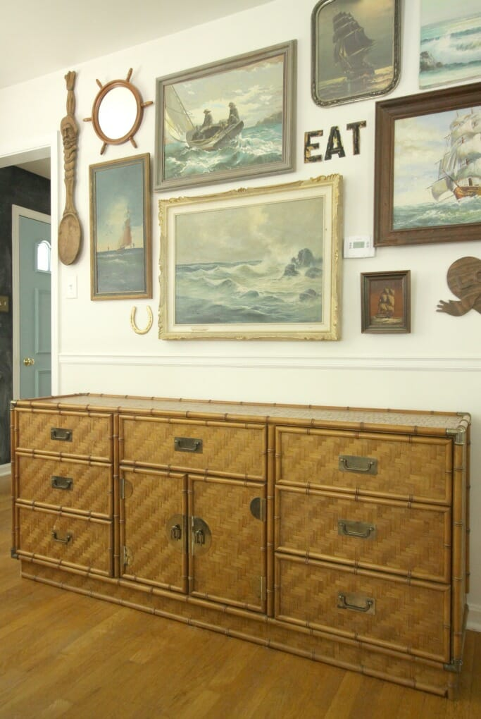 Vintage Campaign Bamboo Dresser with Nautical Gallery Wall